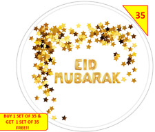 70 Eid Mubarak NON PERSONALISED  Labels Stickers Gift sweet Cone Bags