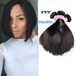 "Short hair bundles Extensions 8"" Natural color human hair Weft Brazilian hair"
