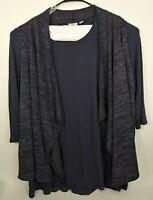 LOGO Lori Goldstein Cardigan & Vest Womens Size XL Purple Open Waterfall Front