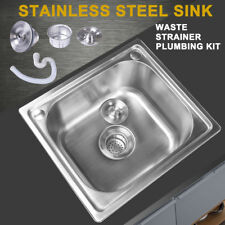 Square Single Catering Laundry Bowl Stainless Steel Kitchen Sink +Plumbing Waste