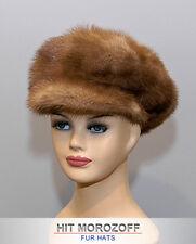 Newsboy Brown MINK Fur Cap Gatsby Hat Pelz Kappe Nerz Fellmütze Mütze Pelzmütze