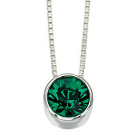Emerald Slider Silver Necklace Pendant 925 Hallmark
