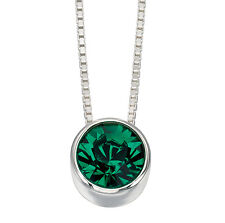 Emerald Pendant Solitaire Necklace Slider Sterling Silver Pendant and Chain