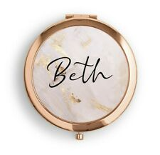 Personalised Rose Gold Compact Pocket Mirror Gold Splash Bridesmaid Friend Gift