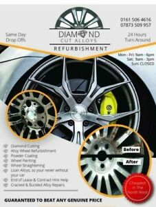 Alloy Wheel Refurbishment Diamond Cut Service Buckle Bent Cracked Powder Coating