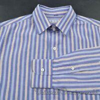 LORO PIANA Colorful Multi Striped Cotton Flax Mens Luxury Dress Shirt - 15 3/4