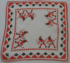 Vintage Child's Batiste White Hankie Orange Edge Indian Braves Bow & Arrow 1950s