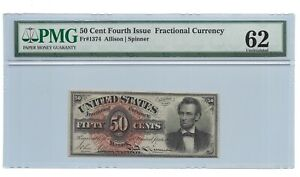 50 CENTS FRACTIONAL CURRENCY FOURTH ISSUE, PMG UNCIRCULATED 62, FR-1374