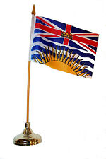 """BRITISH COLUMBIA CANADA PR. 4""""X6"""" in. stick flag with GOLD STAND on 10"""" pl. pole"""