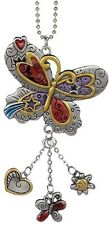BUTTERFLY Color Art Ganz Car Charm w/ Dangle Charms & Chain for Rearview Mirror