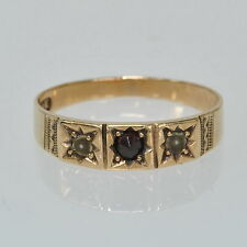Babies Childs Antique Victorian 10k Gold Rose Cut Garnet Seed Pearl Estate Ring