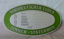 Vintage Green 1930s Norddeutscher North German Lloyd Luggage Baggage Tag Unused