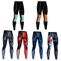 Men's Compression Legging Athletic Baselayer Gym Running Long Pants Batman Print