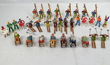 Lot 32 Vintage Barclay France Lead Toy Skiers Ice Skaters Sledder Figures