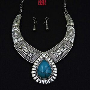 Betsey Johnson Fashion Jewelry Retro Blue Gemstone Choker Necklace