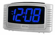 Acctim Vian Silver Alarm Clock 3cm Blue LED Display Mains Powered Battery Backup