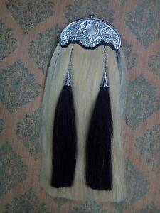 Scottish Kilt Sporran Original White & Black Horse Hair Thistle Cantle/Sporran