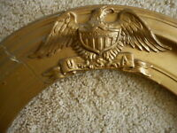 Antique Gilded Oval Frame Eagle USA No glass Military American Flag