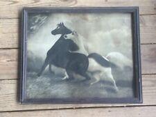 Rare Art Spirited Horses No.2 LeRoy, 1904 Print Type, 20 X 16 , Weathered, B&W