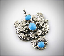 Navajo Robert Becenti Sleeping Beauty Turquoise Double Eagle Pendant Signed