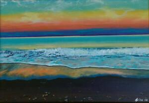 Silent Sunset Limited Edition PRINT of Painting Sky Waves Sea Black Dark Sand