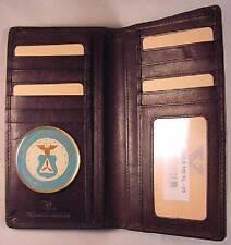 CAP CIVIL AIR PATROL BLACK LEATHER BIFOLD VERTICAL 13 CREDIT CARD WALLET