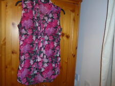 Pretty pink floral floaty hip length sheer top, MISS SELFRIDGE, size 8