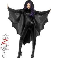 Vampire Bat Wings Costume Halloween Black Cape Ladies Adult Fancy Dress New