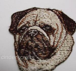 Machine Embroidered Applique  Pug Sizes  2.6W X 2.4H  or  5.2W X 4.9H