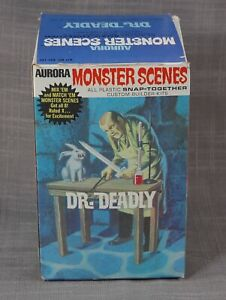 Aurora MONSTER SCENES Unmade Model DR. DEADLY Sealed w/Book + Box MINT/FINE 1971