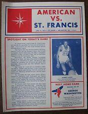 Jan. 13, 1973 American University vs. St. Francis, Basketball Scorecard Program
