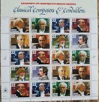 USPS #3158-65   COMPOSERS & CONDUCTORS 20, 32 cent stamp sheet. OG NH MINT 1997