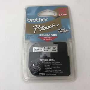 Genuine Brother P-Touch M-921 9mm Black on Silver M Tape For PT-100 PT-110 - NEW