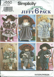 """S 7650 sewing pattern 22"""" DOLL & CLOTHES Dress Pantaloons Overalls Shirt Toy NEW"""