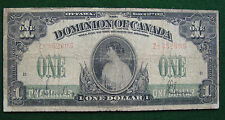 1917 Circulated Dominion of  Canada $1 Note; ABNCo Imprint; Saunders Signature