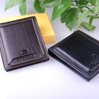 Mens Leather Bifold Wallet Pockets ID Card Clutch Holder Money Clip Purse J6P8