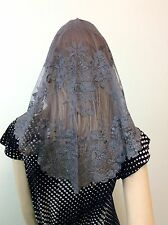 Grey Spanish style veils and mantilla Silver Catholic church chapel lace -Large
