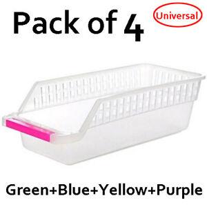 4X Fridge Box Can Holder Kitchen Shelf Organiser Cupboard Holder Storage Basket