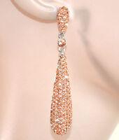 ORECCHINI ARGENTO CORALLO donna strass cristalli pendenti cerimonia eleganti E59