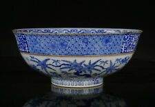 Very Large Antique Japanese Blue and White Porcelain Punch Bowl Marked Meiji 19C