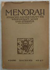 Menorah. famiglie ebraiche foglio per la scienza/Arte U. letteratura. 6/7 1926