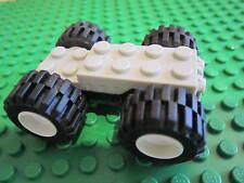 Lego Technic  GREY / BLACK non Electric Pull Back Motor + White Wheels