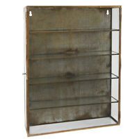 Brass Wall Hanging Storage Cabinet With 4 Shelves & Glass Door by Ib Laursen