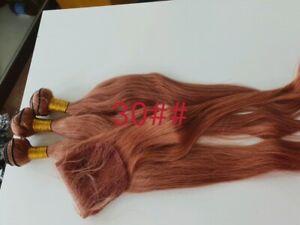 PURE COLOUR 30# BRAZILIAN Virgin Hair STRAIGHT Bundles 26+28+30&24 LACE CLOSURE