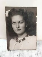 Vintage Old 1940's Arcade Booth Photo of Pretty Girl Woman Wearing Big Necklace