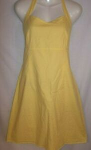 Dress Sz 14 Halter Cotton Yellow dotted swiss! Empire waist, easy care, cool