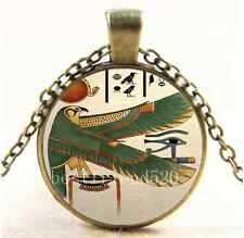 Vintage Ancient Egyptian Photo Cabochon Glass Bronze Pendant Necklace