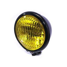 12cm Black Headlight Yellow Glass Vintage Retro Cafe Racer Custom Motorbike