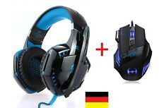Headset PC Gaming Laptop + GAMER Maus  EACH G2000 BASS Spiel Kopfhörer Set Mouse