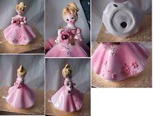 "Vintage Josef Girl Figurine January Red Stone Pink Dress ""As Is"" Black Eyes"